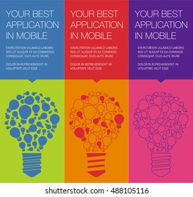 Vector banner with light bulb of idea. Vertical banner for education online courses. Colorful banner with ballon talk for presentation of idea. Tip and hint for brain. Banner for Hackathon event.