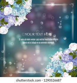 Vector banner with Luxurious hydrangea and roses flowers for invitation, sales, packaging, natural cosmetics, perfume. Space for text.