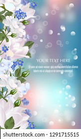 Vector banner with Luxurious tulips and roses flowers for invitation, sales, packaging, natural cosmetics, perfume. Space for text.