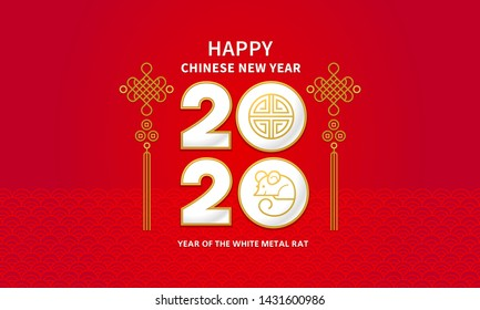 Vector banner, money envelope with a illustration of the rat zodiac sign, symbol of 2020 on the Chinese calendar. White Metal Rat, chine lucky in New Year. Element for Chinese New Year's design.