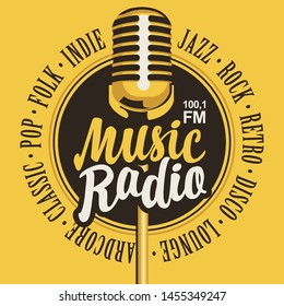 Vector banner for music radio station with microphone and inscription in retro style. Radio broadcasting concept with classic dynamic mic. Suitable for banner, ad, poster, flyer, logo