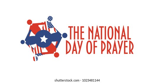Vector banner for The National Day of Prayer, an annual day of observance designated by the United States Congress. United people praying and text The National Day of Prayer.