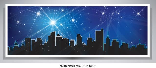 Vector banner night cityscape.