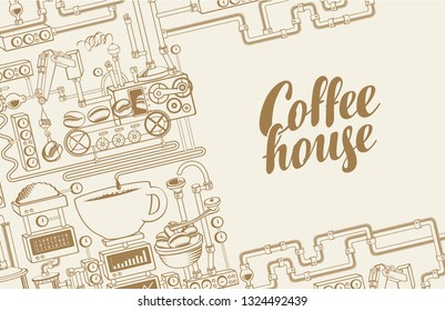 Vector banner on coffee theme with a cup of freshly brewed drink, plant with conveyor coffee production and calligraphic inscription Coffee House in retro style. Decorative coffee maker