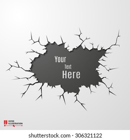 Vector banner on cracked ground abstract background.