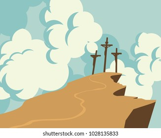Vector banner on Easter or good Friday with the image of mount Calvary and three crosses with crucified people on a background of sky with clouds