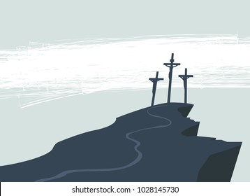 Vector banner on Easter or good Friday with the image of mount Calvary and three crosses with crucified people