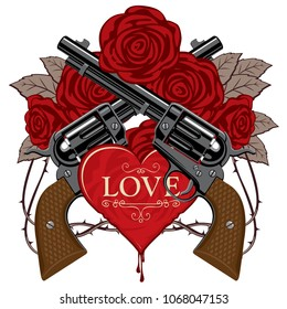 Vector banner on theme of love and death. Template for clothes, textiles, t-shirt design. Illustration with two old crossed revolvers, heart, red roses and barbed wire isolated on white background
