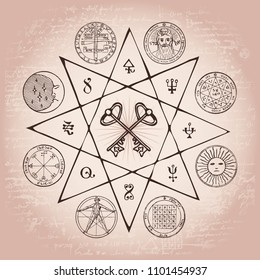 Vector banner on the theme of mysticism, magic, religion and the occultism. Hand drawn illustration of a Grail and other esoteric and masonic symbols on the background of an old illegible manuscript