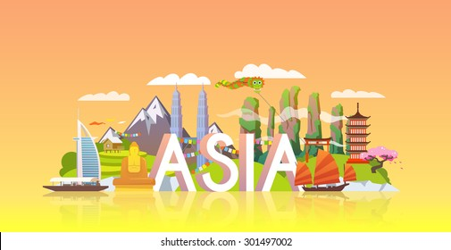 Vector banner on themes: trip to Asia, sights Asia, vacations in Asia, summer adventure. Modern flat style.