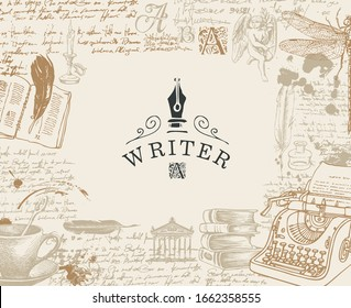 Vector banner on a writers theme with sketches and place for text in vintage style. Artistic illustration with hand-drawn typewriter, angel, books and handwritten notes with spots. Writer workspace.