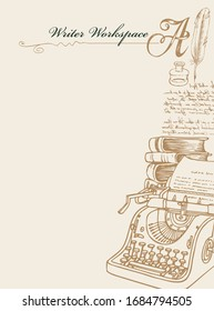 Vector banner on a writers theme with sketches and place for text. Writer workspace. Vintage illustration with hand-drawn typewriter, books, inkwell, feather and unreadable handwritten notes