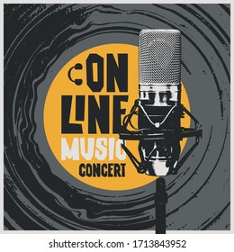 Vector banner for an online music concert with an old vinyl record and a Studio microphone. Suitable for advertising, web banner, poster, flyer, invitation, cover