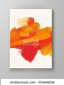Vector banner orange shapes isolated on white background. Hand drawn abstract paint brush strokes. Watercolor elements