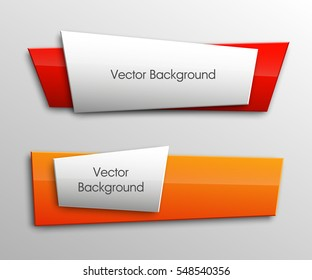 Vector banner. The original form as two form, overlapping. The flat image. Advertising Design shape. Vector label tag.