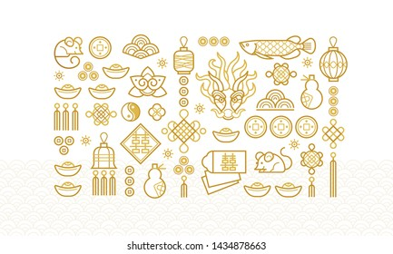Vector banner with a outline illustration of the design elements. Fish, dragon, lantern, calabash, Chinese coin. Rat zodiac sign, symbol of 2020 on the Chinese calendar. White Metal Rat, chine lucky.