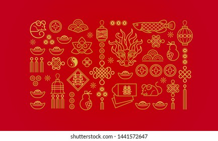 Vector banner with a outline illustration of the design elements on red background. Rat zodiac sign, symbol of 2020 on the Chinese calendar. White Metal Rat, chine lucky.