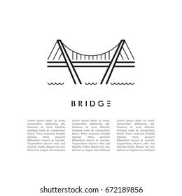 Vector banner with a picture of the bridge in a linear fashion and place for text
