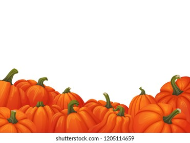 Vector banner, poster, card or frame design. Uneven border of orange pumpkins with green stems isolated on white background. Autumn harvest, market, web site, thanksgiving or halloween template.