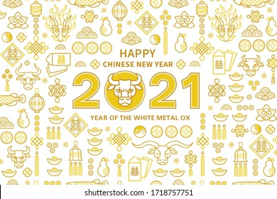 Vector banner, poster, card with a illustration of the Ox Zodiac sign, Symbol of 2021 on the Chinese calendar, isolated. White Metal Ox, Bull, Chine pattern. Element for New Year's Chinese design.