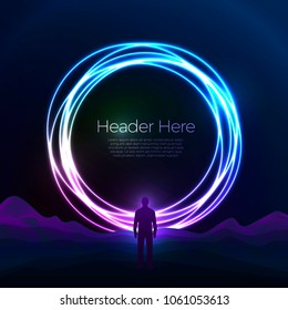 Vector banner, poster design template in futurism style, with bright circle over the mountains. With a man standing in front of it, adventure travel concept.