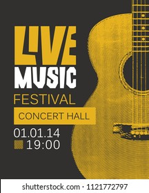 Vector banner or poster for live music festival with yellow guitar on black background in retro style