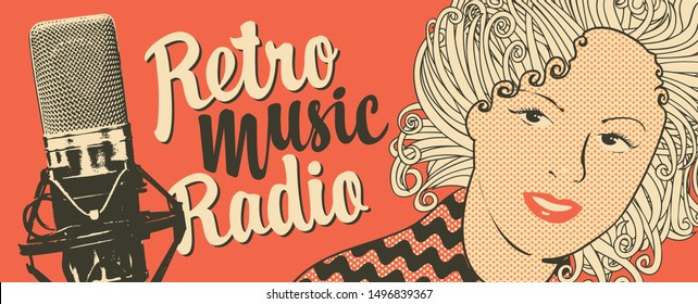 Vector banner for radio station with studio microphone, woman face and inscription Retro music radio. Radio broadcasting concept. Suitable for banner, ad, poster, flyer, logo