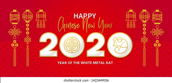 Vector banner, red money envelope with a illustration of the rat zodiac sign, symbol of 2020 on the Chinese calendar. White Metal Rat, chine lucky in New Year. Element for Chinese New Year's design.