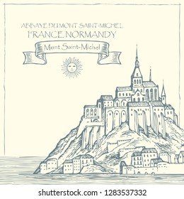 Vector banner in retro style with hand drawn illustration of Mont Saint-Michel, France. French sightseeing, abbey fortress on the island.