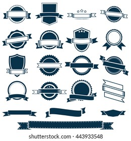 Vector banner ribbons, labels and emblems