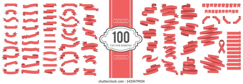 Vector banner ribbons. A set of 100 ribbons in vintage style.
