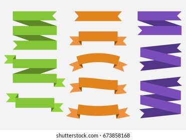 Vector banner Ribbons. Set of 11 ribbons. Green, Orange, Purple Ribbons. Template.