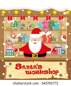 Vector banner Santa's workshop with Santa Claus and gifts, toys, dolls, present box and lamp garlands with flags