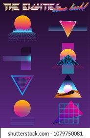Vector Banner Set from the 1980s