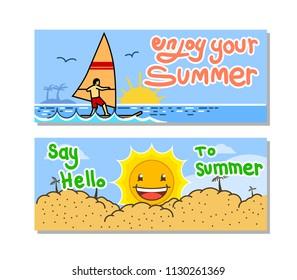 Vector banner set of ocean summer holiday theme