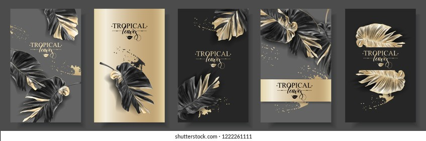 Vector banner set with tropical black leaves and gold splashes on dark background. Luxury exotic botanical design for cosmetics, spa, perfume, aroma, beauty salon. Best as wedding invitation card