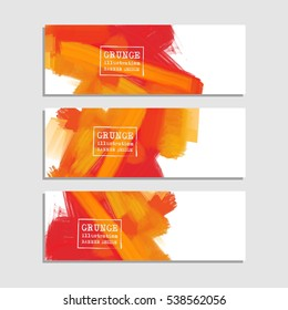 Vector banner shapes collection isolated on white background. Hand drawn abstract paint brush strokes set. Watercolor elements.
