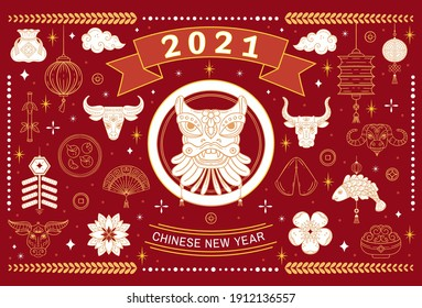 Vector banner with signs and symbols of 2021 on the Chinese calendar. Metal bull, ox zodiac, chine lucky for New Year. Elements for Chinese New Year's design.