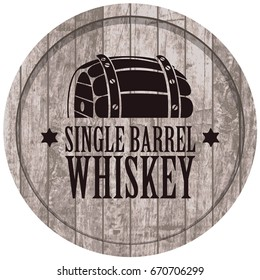 Vector banner with Single barrel whiskey on a a gray wooden background in retro style.