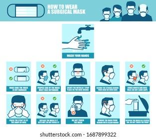 Vektorillustration-Banner einer schrittweisen Anleitung, wie man während des Ausbruchs einer Virusinfektion eine chirurgische Maske richtig trägt, um die Ausbreitung einer Erkrankung zu verhindern