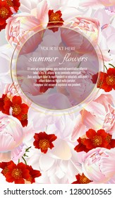 Vector banner with summer flowers for invitation, sales, packaging, natural cosmetics, perfume. Space for text.