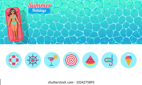 vector banner with sunbathing girl and flat icons for beach vacations. Top view of a swimming pool with girl with inflatable mattress