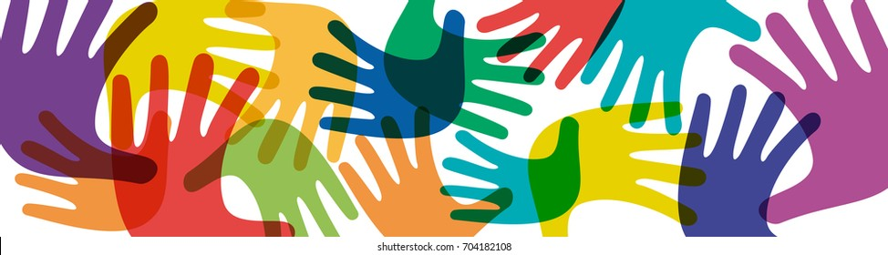 Vector banner teamwork, open hands. Solidarity concept, background