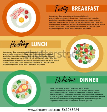 Vector Banner Template Breakfast Lunch Dinner Stock Vector Royalty