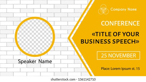 Vector banner template for business meeting. Conference flyer