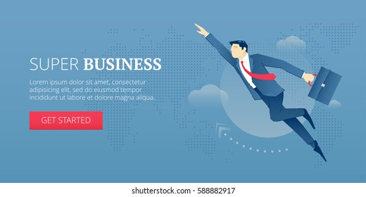 Vector banner template of businessman character flying through the sky as a super hero. Vector concept for internet banners, social media banners, headers of websites and more