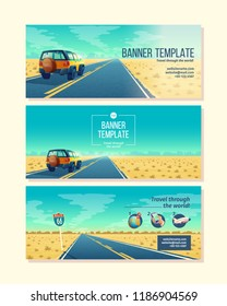 Vector banner template with desert landscape. Travel concept with SUV on asphalt way to canyon, wasteland. Brochure, booklet with website link, tourist poster. Voyage background with road sign.