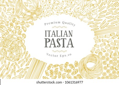 Vector banner template with different types of traditional Italian pasta. Hand drawn background. Can be use for menu or packaging design. Italian cuisine illustration.