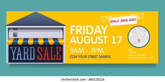 Vector banner template for garage or yard sale event.