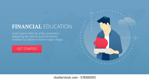 Vector banner template of student character holding a piggy bank on a book. Financial education vector concept for banners, infographics, landing pages of website or print design